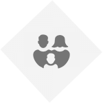 family graphic. light grey diamond with dark grey mum & dad and light grey child in between them