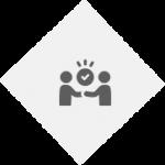 PNG image of satisfied graphic. light grey diamond. 2 dark grey people shaking hands, tick above.