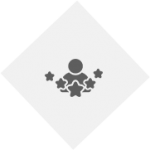 PNG image of expert graphic. light grey diamond with dark grey person and 5 stars around them